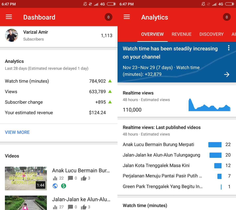 Melihat pendapatan AdSense Youtube dengan hape Android