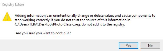Registry Windows Photo Viewer