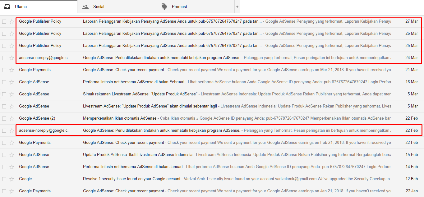 Email pelanggaran dari Pusat Kebijakan AdSense
