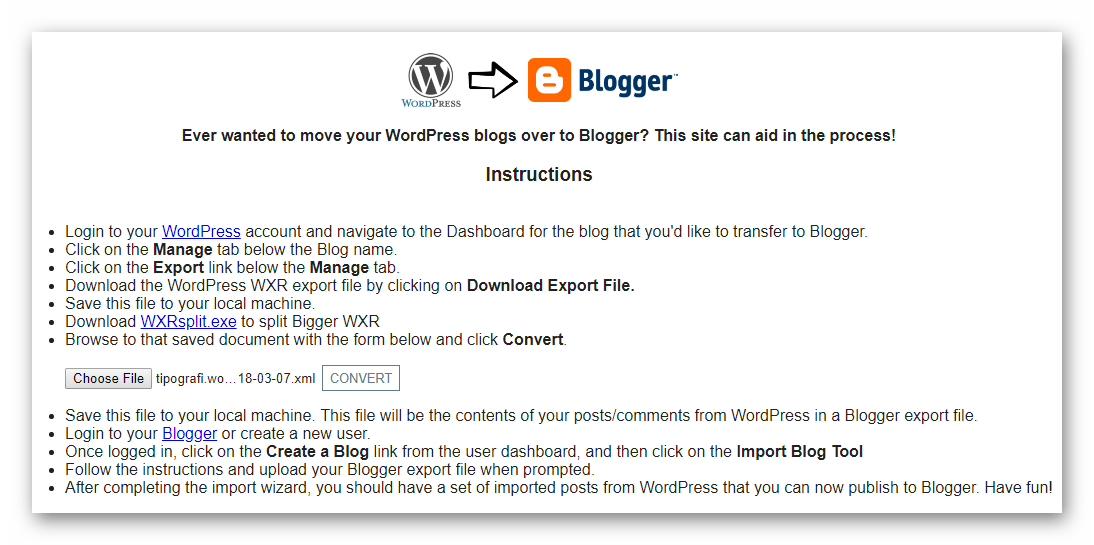 WordPress to Blogger.com