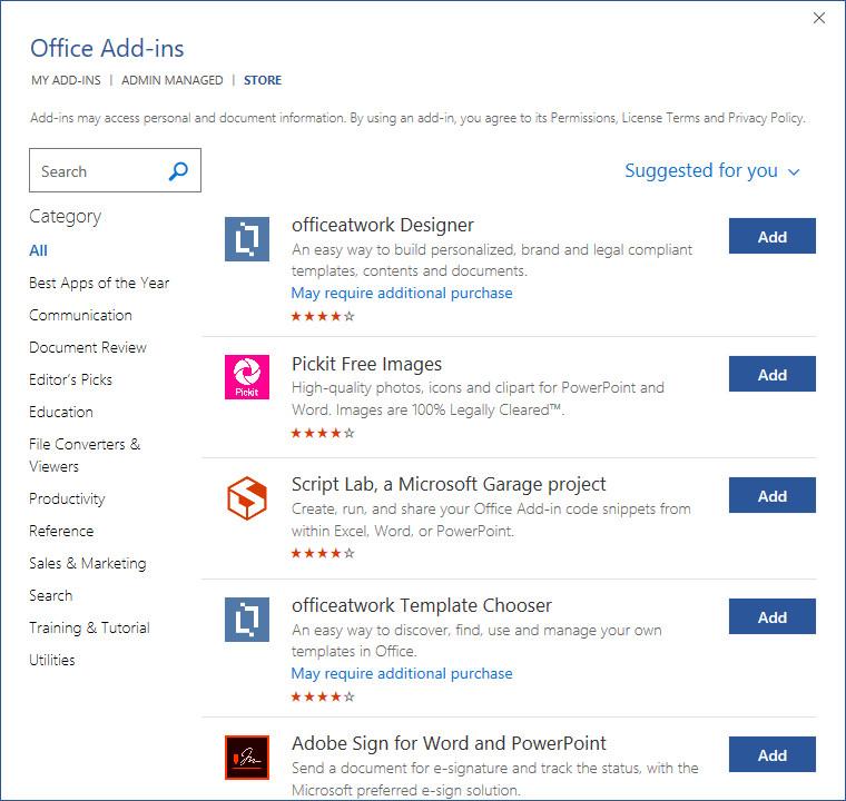 Office Add-Ins Microsoft Office 2019