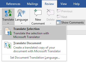 Translate Microsoft Office 2019